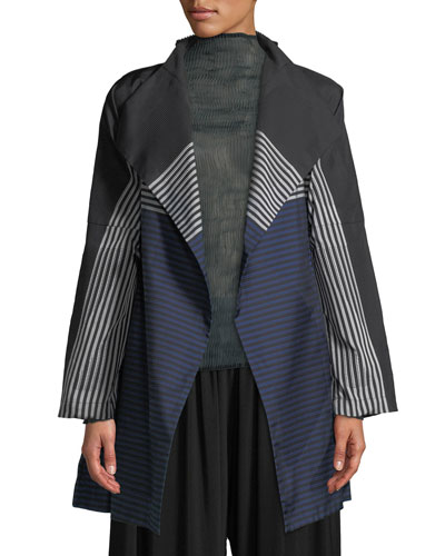 One-Button Dot-Stripe Textured Fit-and-Flare Trench Coat