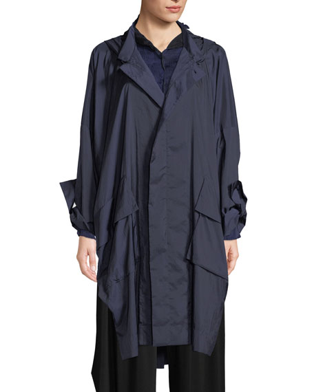 Zip-Front Hooded Foldable Rain Jacket