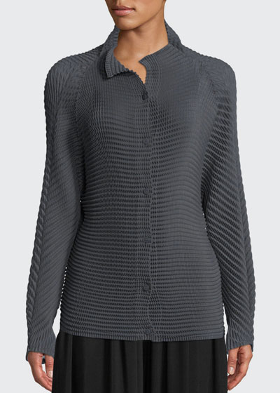 Long-Sleeve Button-Down Wool-Blend Sweater