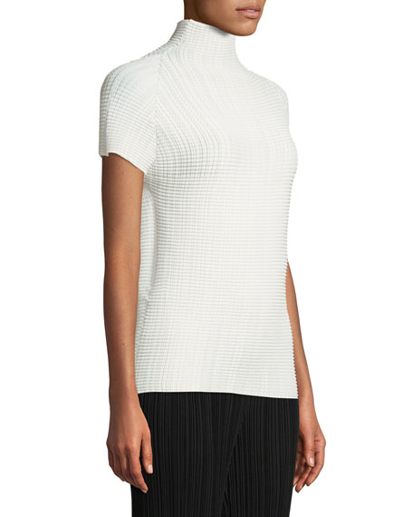Turtleneck Short-Sleeve Textured Knit Top