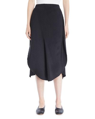 Pleated Draped-Side Circle Skirt
