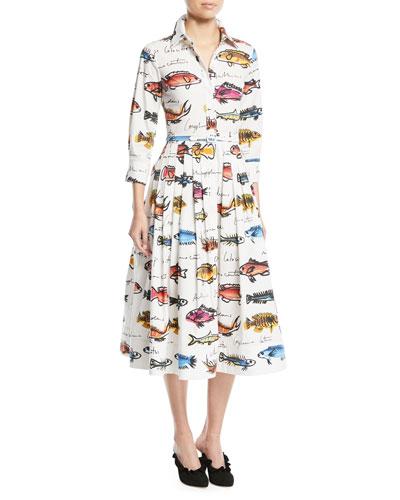 3/4-Sleeve Fish-Print Cotton Shirtdress w/ Pleated Skirt
