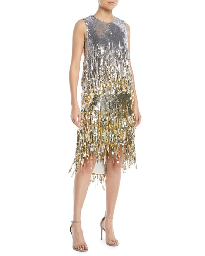 Jewel-Neck Sleeveless Fringe Sequin Cocktail Dress