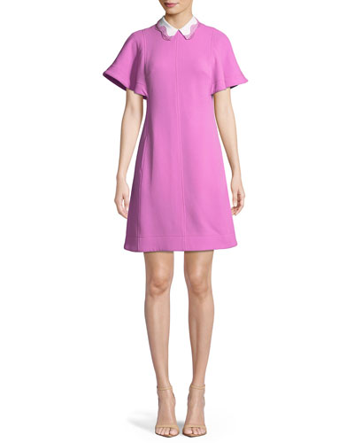 Flutter-Sleeve A-Line Wool-Blend Dress with Removable Collar