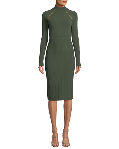 Long-Sleeve Sheath Dress with Cross-stitch Detailing