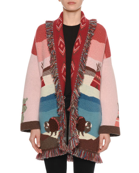 Lunar Phases Jacquard Open-Front Cashmere Cardigan with Fringe