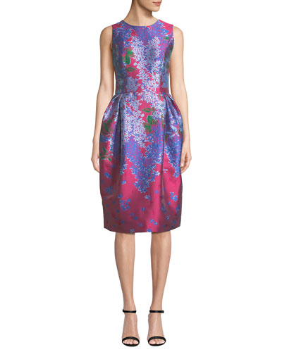 bb5dd87b2b0 Sleeveless Full-Skirt Floral-Brocade Tea-Length Dress Quick Look. Carolina  Herrera