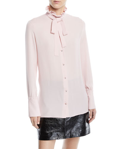 Tie-Neck Button-Front Long-Sleeve Silk Georgette Blouse