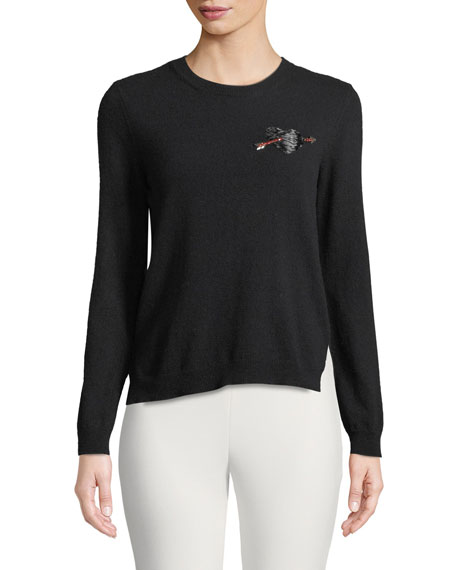 Crewneck Long-Sleeve Wool Sweater W/ Heart Patch, Black