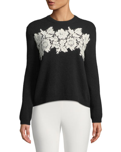 Long-Sleeve Crewneck Wool-Cashmere Sweater with Lace Inserts