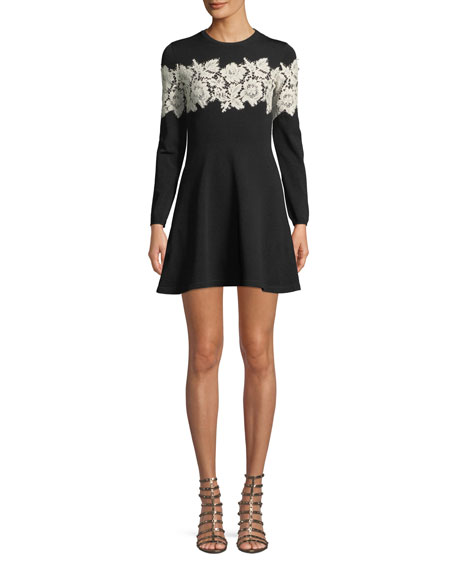 Crewneck Long-Sleeve Fit-And-Flare Sweaterdress W/ Lace Inset, Black/White