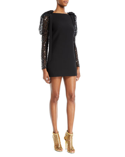 Embellished-Sleeve A-Line Crepe Couture Cocktail Dress