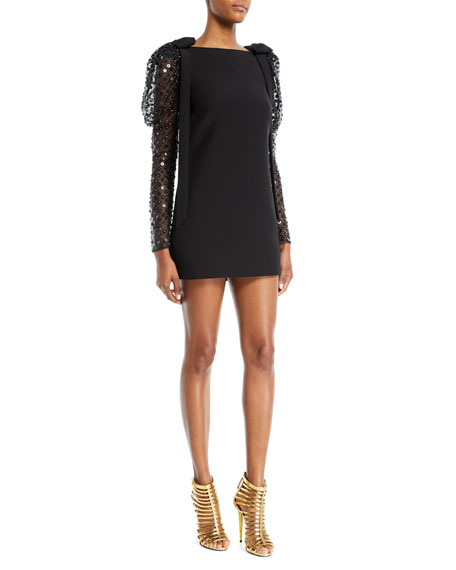 Embellished Wool And Silk-Blend Crepe And Silk-Organza Mini Dress in Black