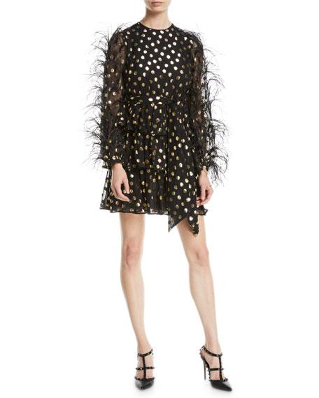 c29126e7ee18 Valentino Jewel-Neck Ostrich-Feather Long-Sleeve Metallic-Dot Cocktail Dress