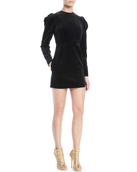 Long-Sleeve Strong-Shoulder Velvet Dress w/ Open-Back