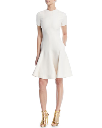 Short-Sleeve Crewneck Fit-and-Flare Crepe Couture Dress