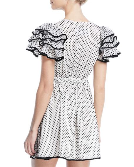Plunging Ruffle Cap-Sleeve Polka-Dot Dress with Velvet Tie