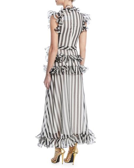 Sleeveless Striped Silk Organza Long Dress w/ Ruffled Frills