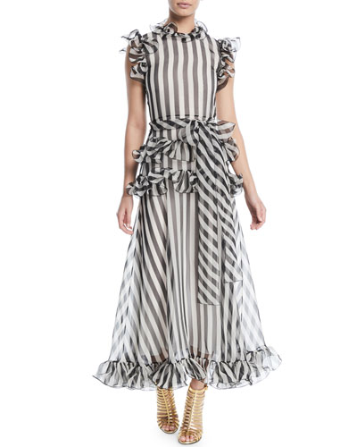Sleeveless Striped Silk Organza Long Dress w/ Ruffled Frills