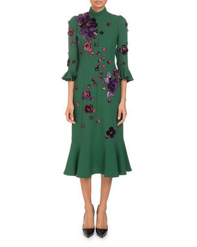Mock-Neck 3/4-Sleeve Crepe Dress with Scattered Floral-Embroidery