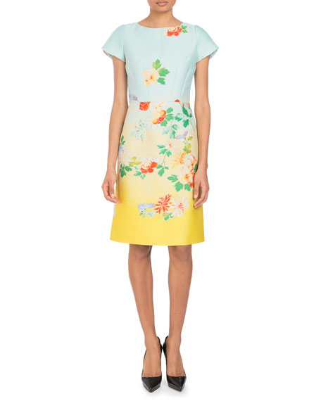 Cap-Sleeve Dégradé Floral-Jacquard Dress