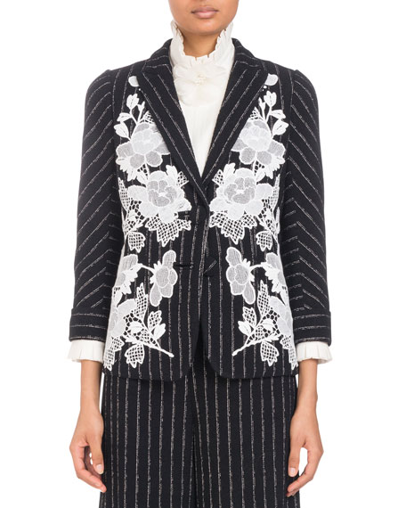 Image 1 of 1: Single-Breasted Pinstripe Blazer with Lace Embroidered Applique
