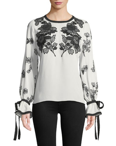 Round-Neck Long-Sleeve Silk Blouse w/ Lace & Embroidery