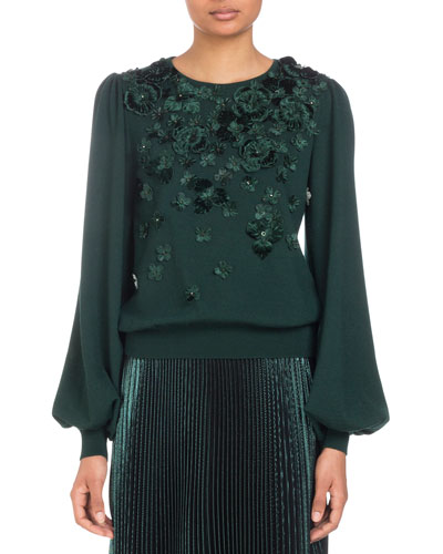 Blouson-Sleeve Knit Sweater with Tonal Floral Embroidery