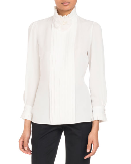 Andrew Gn Stand-Collar Long-Sleeve Pleated Silk Blouse with