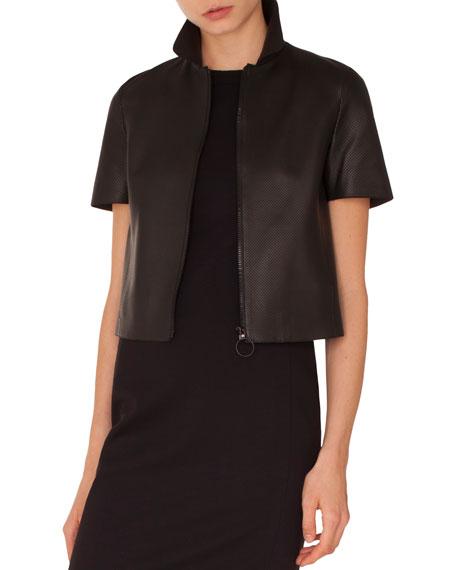 Akris punto Kent-Collar Short-Sleeve Zip-Front Perforated Napa