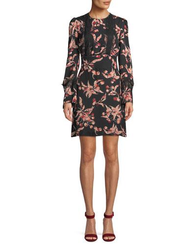 Long-Sleeve A-Line Cherry-Print Double-Georgette Mini Dress