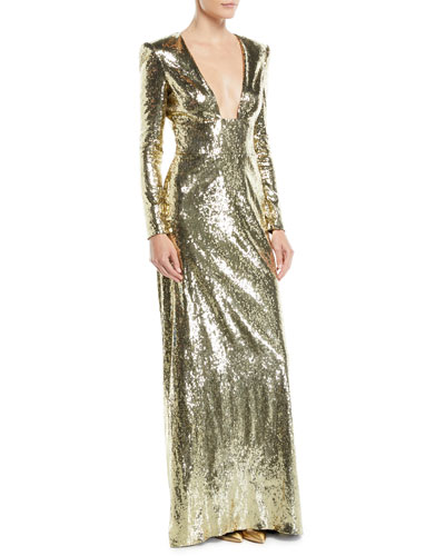 Long-Sleeve Sequined Evening Gown w/ Open Back