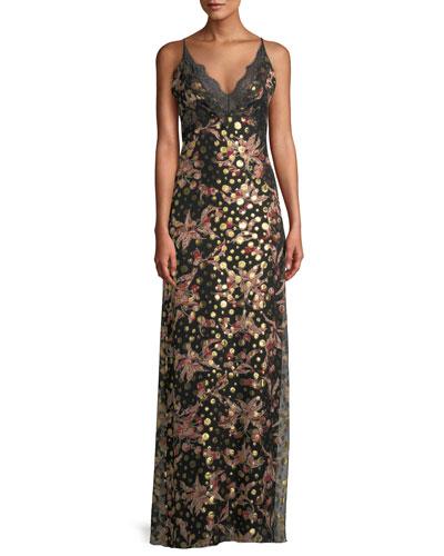 V-Neck Sleeveless Cherry Fil Coupe Slip Maxi Dress