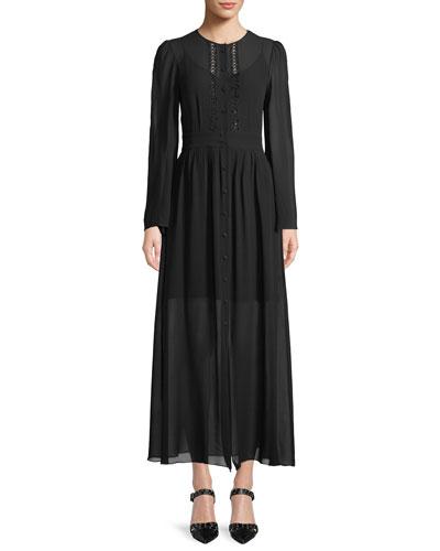 Long-Sleeve Button-Front Long Silk Georgette Dress