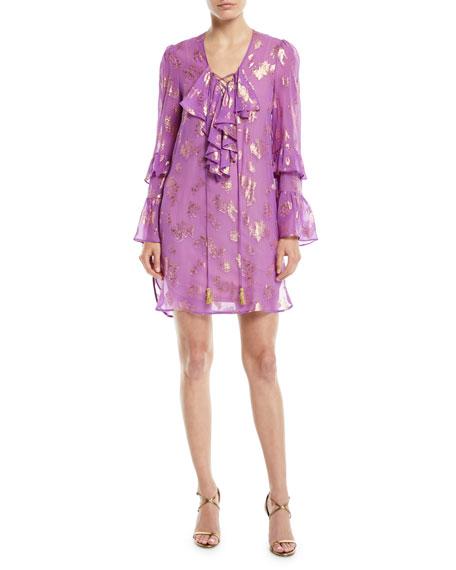 Dundas LONG-SLEEVE METALLIC FIL COUPE CHIFFON COCKTAIL DRESS