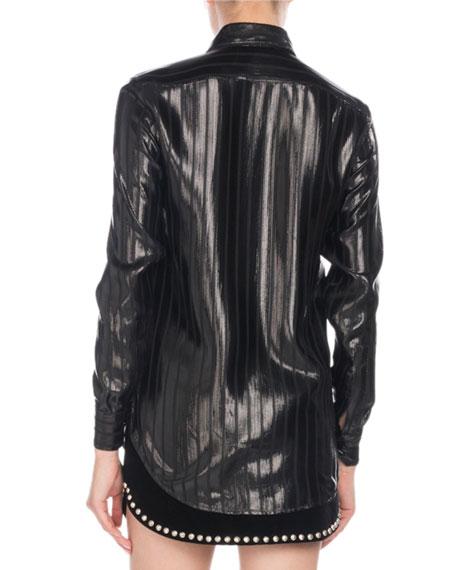Button-Front Long-Sleeve Striped Lamé Blouse