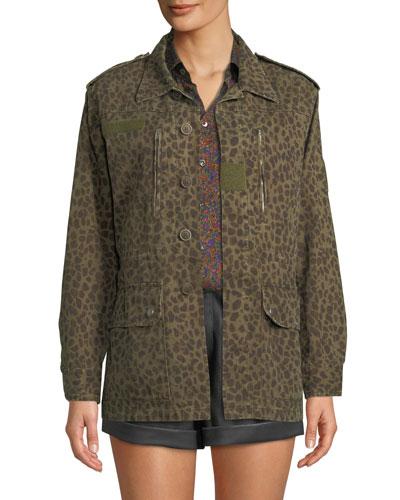 Leopard-Print Safari Jacket