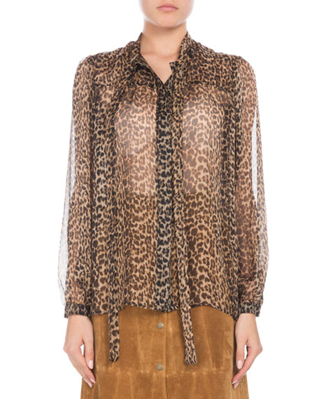 Long-Sleeve Button-Down Leopard-Print Sheer Silk Blouse with Neckties
