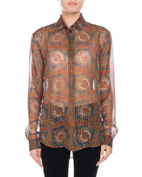 Long-Sleeve Button-Front Metallic-Paisley Silk Shirt in Red