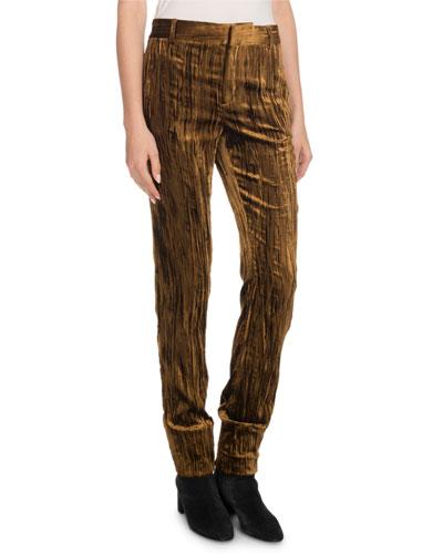 Crinkled-Velvet Straight-Leg Pants