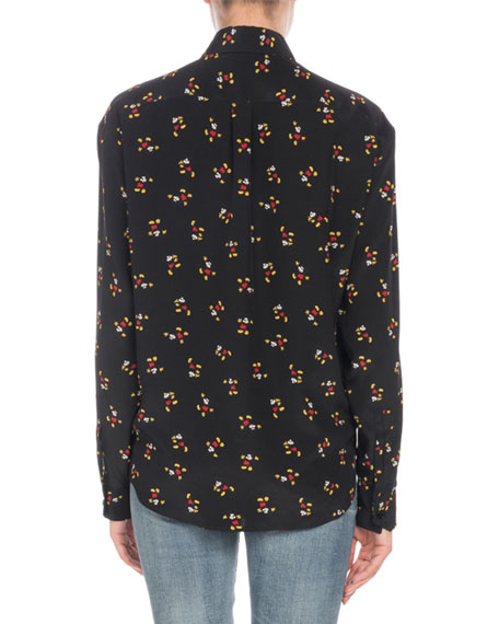 Mickey Mouse Button-Front Long-Sleeve Silk Classic Blouse