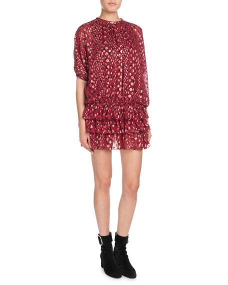 Multi-Dot Tiered Short-Sleeve Metallic Silk Mini Dress in Red