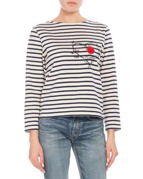 Crewneck Long-Sleeve Striped Knit Top w/ Serpent Heart & Rose Decal