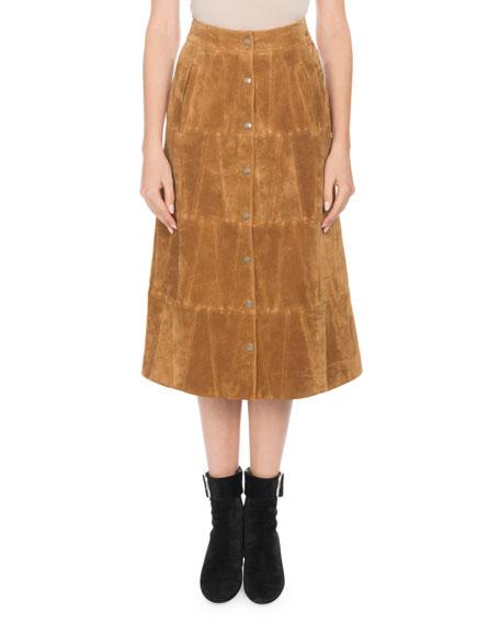 3588880758 Saint Laurent Snap-Front Calfskin Suede Midi Skirt