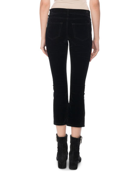 Straight-Leg Crop-Flare Velvet Pants