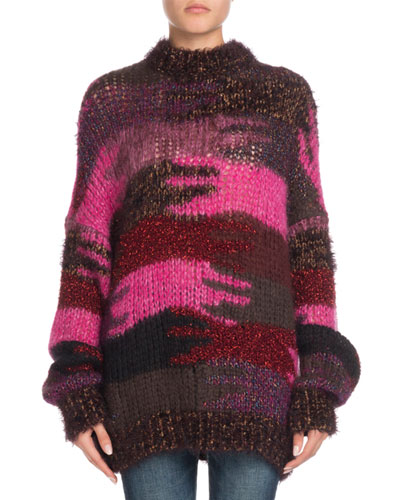Crewneck Camo Patchwork Mohair-Blend Sweater