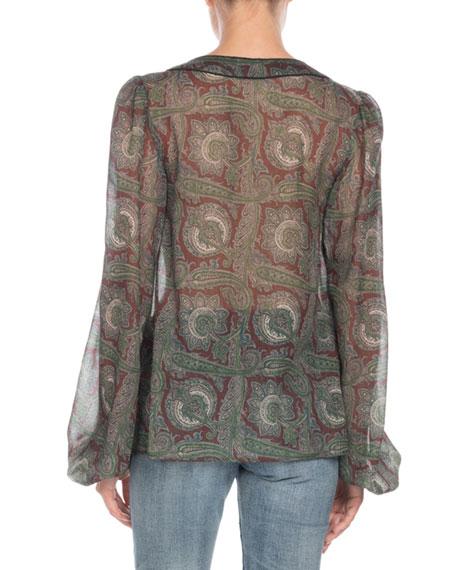 Tassel-Tie Neck Paisley-Print Sheer Wool Blouse