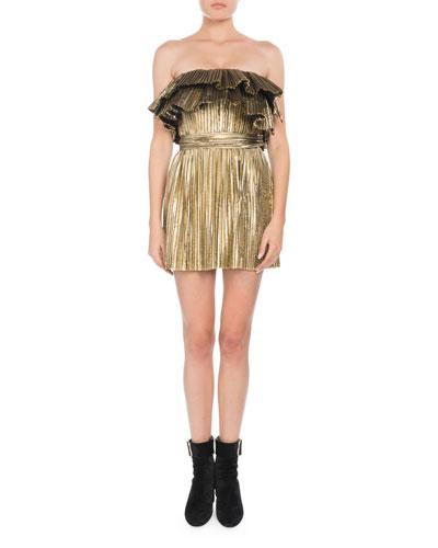 Strapless Metallic Plisse Mini Cocktail Dress