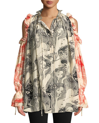 Eve-Print Tie-Neck Cold-Shoulder Bicolor Silk Peasant Blouse