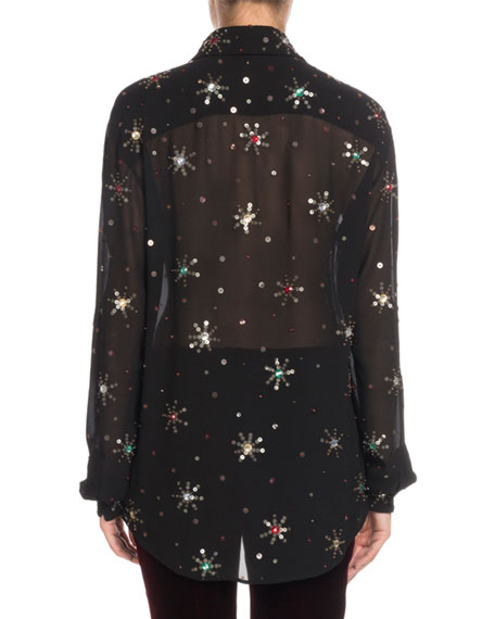 Multicolor Starburst-Embellishment Button-Down Long-Sleeve Silk Blouse